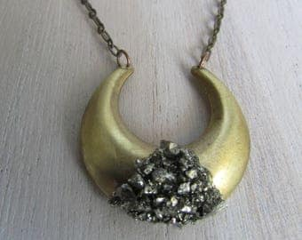 Half moon necklace, Pyrite