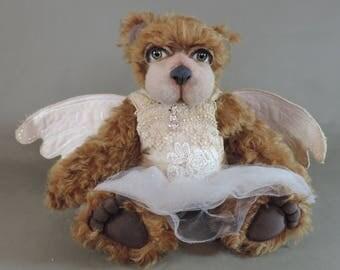 "Artist Teddy Bear, Minky Angel Bear, OOAK Mohair and needle felted face, collectible, handmade teddy, fully jointed, 13"" tall"