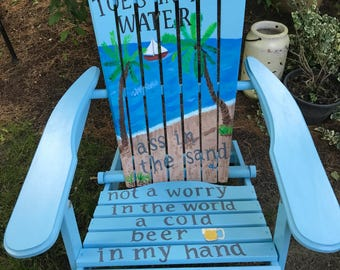 Adirondack Chair - Custom Colors - Zack Brown Band - Beach - Hand Painted