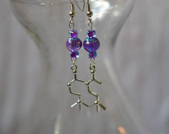 Biolojewelry - Acetylcholine Neurotransmitter Molecule Earrings