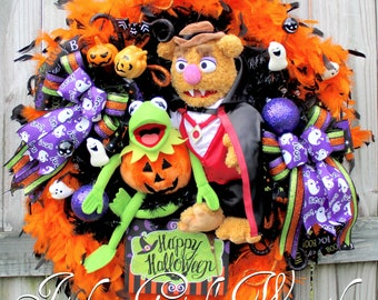 Kermit the Frog and Fozzie Bear Muppet Halloween Wreath, Happy Halloween, Home decor, Decoration, Pumpkin, ghost