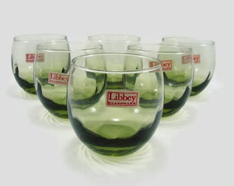 6 Vintage Libbey Roly Poly Glasses Olive Green, Unused Acocado Tiara Tumblers with Labels