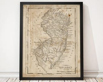 Old New Jersey Map Art Print 1816 Antique Map Archival Reproduction
