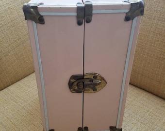 Vintage doll case, carrier, pink stars, metal handle