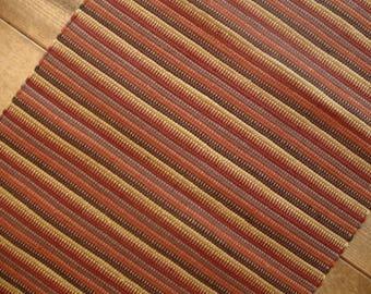Rust, Brown, and Mustard Handwoven Nicaraguan Rag Rug