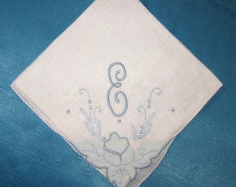 Wedding Something Blue, Vintage Handkerchiefs, Gift for Bride, Embroidered E