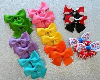 Mini Hair Bows..2 inch hair bows...Mini Bow Set...Baby Hair Bows...Toddler Hair Bows...Pig Tail Bows...Small Bow Set
