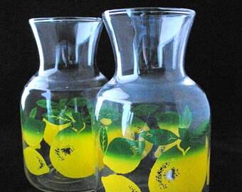 Lemon Lime Juice Carafes Clear Glass Carafe Lemons Limes Vintage 1960s  Pair of Carafes
