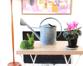 Vintage Galvanised Watering Can complete with rose