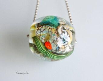 Lampwork beads - glass pearl Ocean terrarium with jellyfish, underwater world, artist Focal bead - single pearl, design by Kokopelle