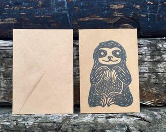 Happy Sloth Card- blank card- linoleum block card - handmade card