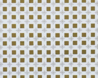 Vintage ATOMIC All-Occasion Gift Wrap - Wrapping Paper - Gold SQUARES and Silver STARBURSTS - 1960s