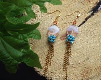 delicate earrings, pink earrings, cute, light earrings, chains, earrings with pendants