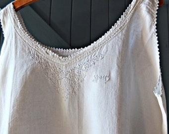 French linen chemise, pure linen french smock, french linen dress
