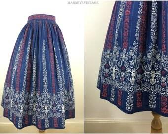 Vintage 1950s Skirt - 50s Cotton Blue Patterned Swing Skirt - Full Swing Midi Circle Skirt - Medium - UK 12 / US 8 / EU 40