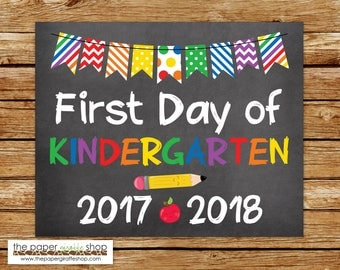 First Day of Kindergarten Sign | Chalkboard Sign | First Day of School Sign | School Printable | First Day of Kindergarten | Kindergarten