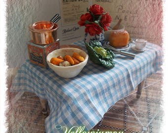 """1/12th dollhouse miniature """"Old"""" Kitchen table preparing to prepare dinner."""