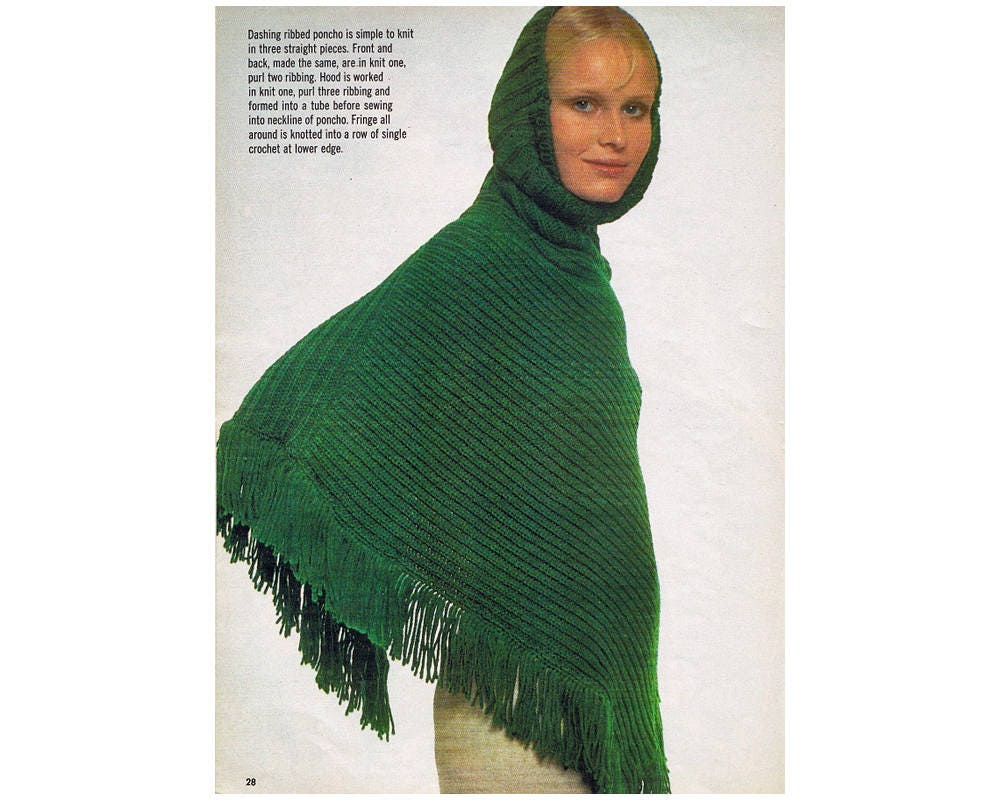 Poncho knitting pattern 1970s womens hooded poncho knitting poncho knitting pattern 1970s womens hooded poncho knitting pattern instant download bankloansurffo Image collections