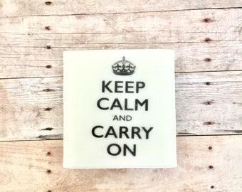 Keep calm zesty soap bar/Gift soap/Unisex/Free shipping
