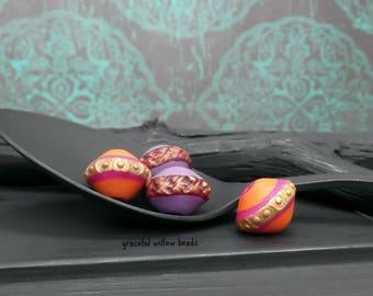 Vintage Style Polymer Bicone Mix - Orange Purple Plum Brass - Bohemian Earring Bead Pairs - 13mm - Pkg. 4