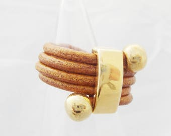 gold plated findings and whiskey leather ring