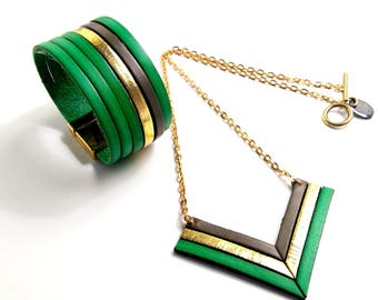 Set of Emerald, gray and gold leather