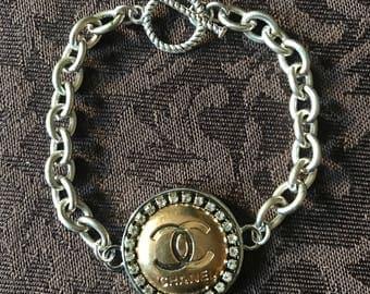 Vintage Chanel Designer Button Bracelet