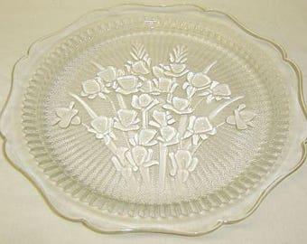 Jeannette Depression Glass Crystal IRIS and HERRINGBONE 9 Inch Dinner Plate