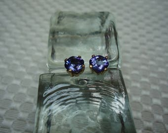 Cushion Cut Tanzanite Earrings in 14K Yellow Gold  # 2034