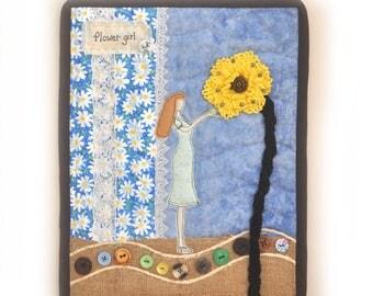 Mini Quilt, Fabric Art Quilt, Wall Decor, Quilt Wall Hanging, Flower Girl, Sunflower, Daisies, Cottoage Chic, OOAK, Handmade, Flower Lady