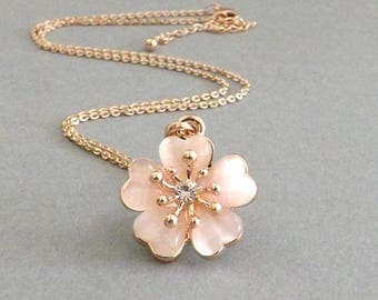 Cherry Blossom Necklace, Sakura Necklace, Pink Cherry Blossom Wedding, Flower Girl Gift, Bridesmaid Jewelry Bride Necklace Gift for Mom
