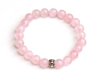 rose quartz bracelet, pink bracelet, rose quartz jewelry, beaded bracelet, love bracelet, bracelet, pink bracelets, rose quartz, pink jewelr