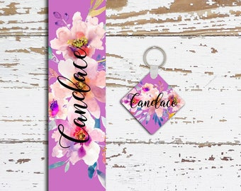 Personalized key chain, Purple and pink flowers, Interior car decor, Monogrammed gifts for her (1672)