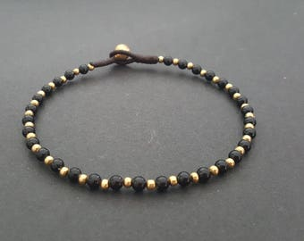 Onyx Beads, Brass Chain Anklet, Bead Anklet,  Brass Beads