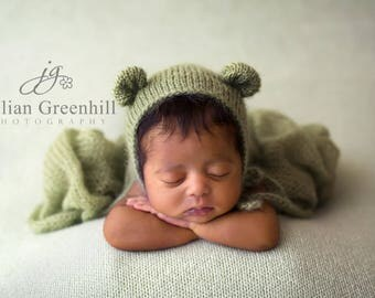 Knit Mohair wrap and bear bonnet Newborn Photography prop choose from 49 colours swaddle, wrap and knot Newborn boy girl photo prop