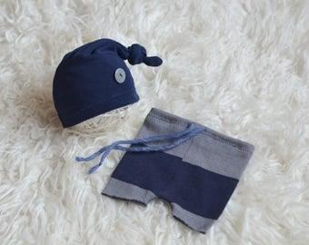 RTS Newborn boy/girl set of pants with matching sleepy hat Newborn Baby boy photo prop grey navy stripes
