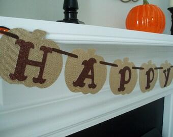 Happy Fall Burlap Banner, Fall Pumpkin Burlap and Cardstock Banner, Burlap Pumpkin Decor, Fall Burlap Sign, Pumpkin Banner, Brown