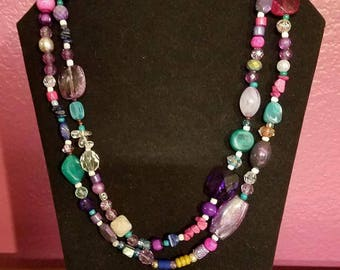 Pink Themed Multi-Colored Wrap Necklace