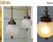 ON SALE 1970's Vintage Swag Lights, Clear, Crackle, Glass, Globes, Bathroom, Lighting, Light Fixture, Hanging, Ceiling, Retro, Mod, Troy Lig