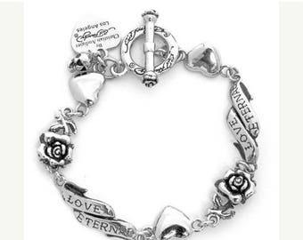 ON SALE Charm Bracelet Rose Heart Sterlnig Silver
