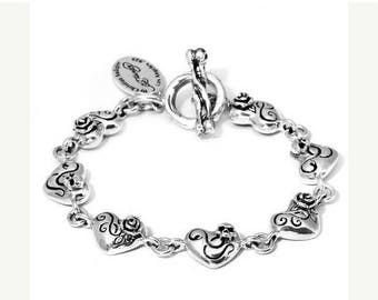 ON SALE Charm Bracelet Heart Rose Sterling Silver