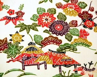 Colourful Floral Landscape scene Vintage Japanese wool kimono fabric