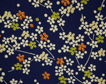 Ume Vintage Japanese chirimen silk kimono fabric