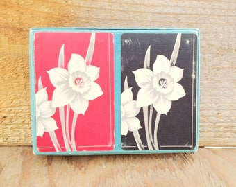 United States Playing Card Company Hamilton Cards Playing Lithograph Flowers White Tulips Black and Red Double Decks 2 decks 1930 Art Deco