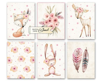 Journal Cards - Animals - Project Life - digital collage sheet - set of 6 cards - Printable Download