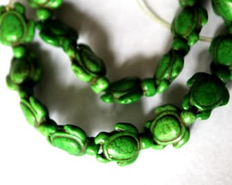 20 mm Dark Green Turquoise, Howlite Turtle Beads