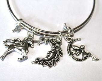 Silver Expandable Bangle Charm Bracelet with Unicorn, Fairy, and Man in the Moon Charms and 4 mm Silver Bicone Crystals