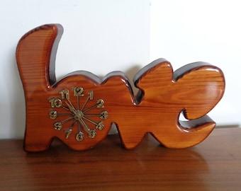 "Vintage 1970's Wooden ""LOVE"" Wall Clock,Shelf Clock, Redwood ""LOVE"" Clock."