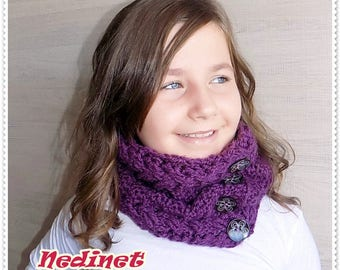 Crochet pattern, Crochet cowl scarf pattern, Cable stitch, Cowl scarf pattern, Basic Chunky Infinity Scarf, Woman  cowl scarf, PATTERN