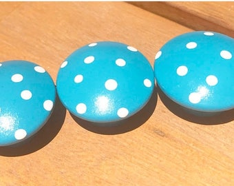 Huge Summer Sale CLEARANCE - Hand Painted Blue Turquoise Drawer Knobs for Dresser Drawers, Closet Doors or use as Nail Covers for Nursery Ki